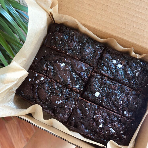 salted date caramel filled brownie in a box