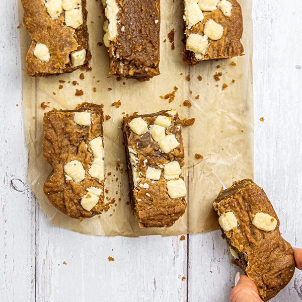 salted peanut butter white chocolate brownies cut in 6 pieces